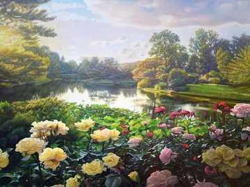 Park landscape. - Jigsaw puzzle. Painting.