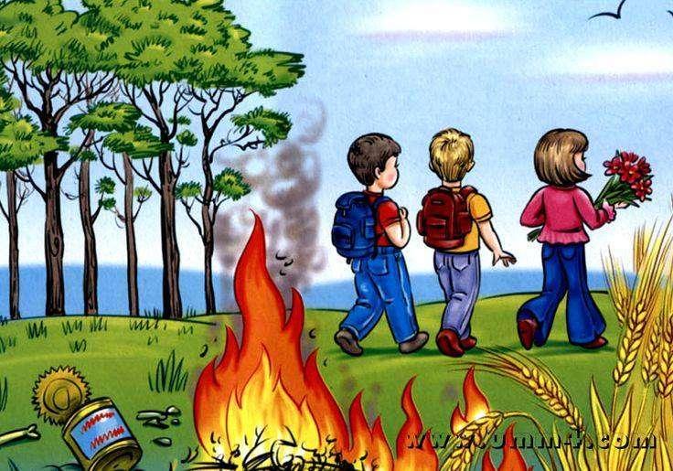 așa da așa nu - poză cu copii la pădure , foc aprins (3×2)