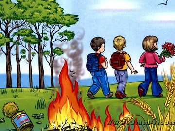 so yes so no - picture of children in the woods, fire burning