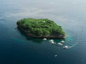 Pescador Island - bird's eye view of island. Moalboal, Philippines