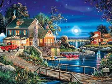 Twilight on the lake. - Landscape puzzle.