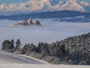 View of the Tatra Mountains. - Winter view of the Tatra Mountains.