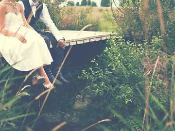 Wedding couple on a footbridge - couple sitting on wooden bridge.