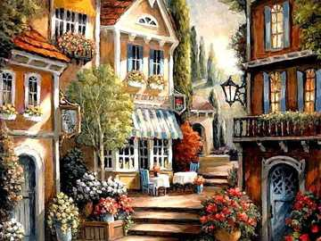 Painting. - Art. Jigsaw puzzle. Houses.