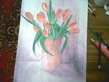 Tulips in the red vase drawn by Năstica - The tulips are drawn by Nastica