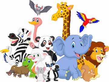 Savannentiere - Tierpuzzle ideal für Kinder, sehr einfach. Habe Spaß!