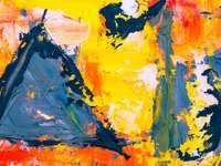 pintura abstrata amarela vermelha e preta - Testar o que acontece quando tinta acrílica é misturada com massa leve. mais da minha arte: http: