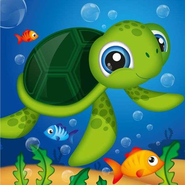 Die Meeresschildkröte - Sie sind Meeresreptilien, die in allen tropischen Ozeanen leben. Sie sind ausschließlich marine, aber sie berühren Land nur, um zu nisten (3×3)