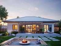 Modernes Haus am Abend