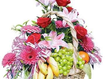 Flower and fruit composition in a basket - Flower and fruit composition in a basket