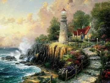 Dom z latarnią morską - Dom z latarnią morską nad morzem