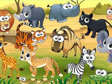 Animals in the jungle - Order the puzzle and discover many animals