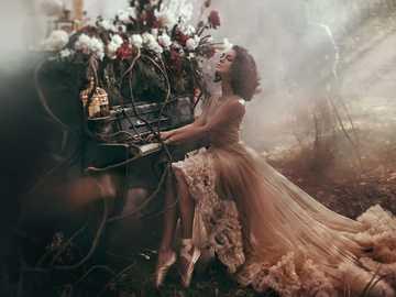 Piękna Kobieta, Pianino, kwiaty - Piękna Kobieta, Pianino, kwiaty