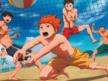 haikyuu beach day - Haikyuu!! Official Art. Karasuno playing beach volleyball.