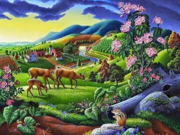 Idyllic landscape. - Landscape puzzle.