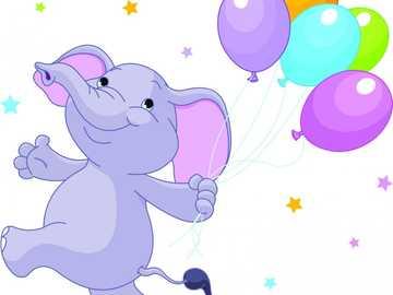 Слоник с шариками. - Собираем пазл слоник с шариком.