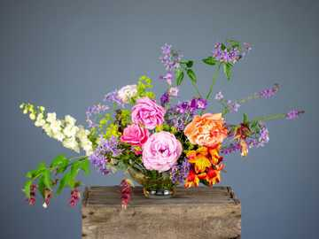 multicolored flowers in vase on wooden surface - Pink Flowers, Flower Bouquet, Floristry, White Flowers, Flowers on Table, Orange Flowers, Purple Flo