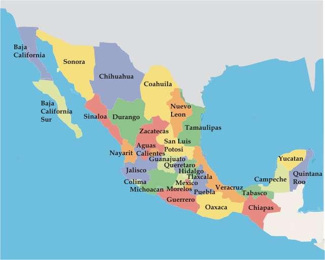 Mapa de la república mexicana - República Mexicana. Trata de armar el rompecabezas de México, uedes observar el mapa en la pagina 10 de tu libro de Nuevo León. Arma el siguiente rompecabezas (5×4)