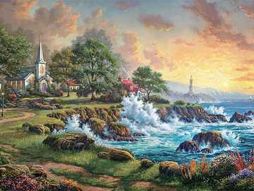 Church by the sea. - Landscape puzzle.