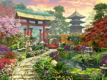 Painting. - Art. In a Japanese garden.