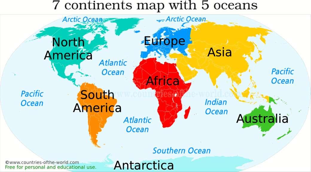 Kontinensek + óceánok - A világtérkép puzzle, amely segít a hallgatóknak a kontinensek és az óceánok megismerésében (8×4)