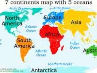 Kontinensek + óceánok