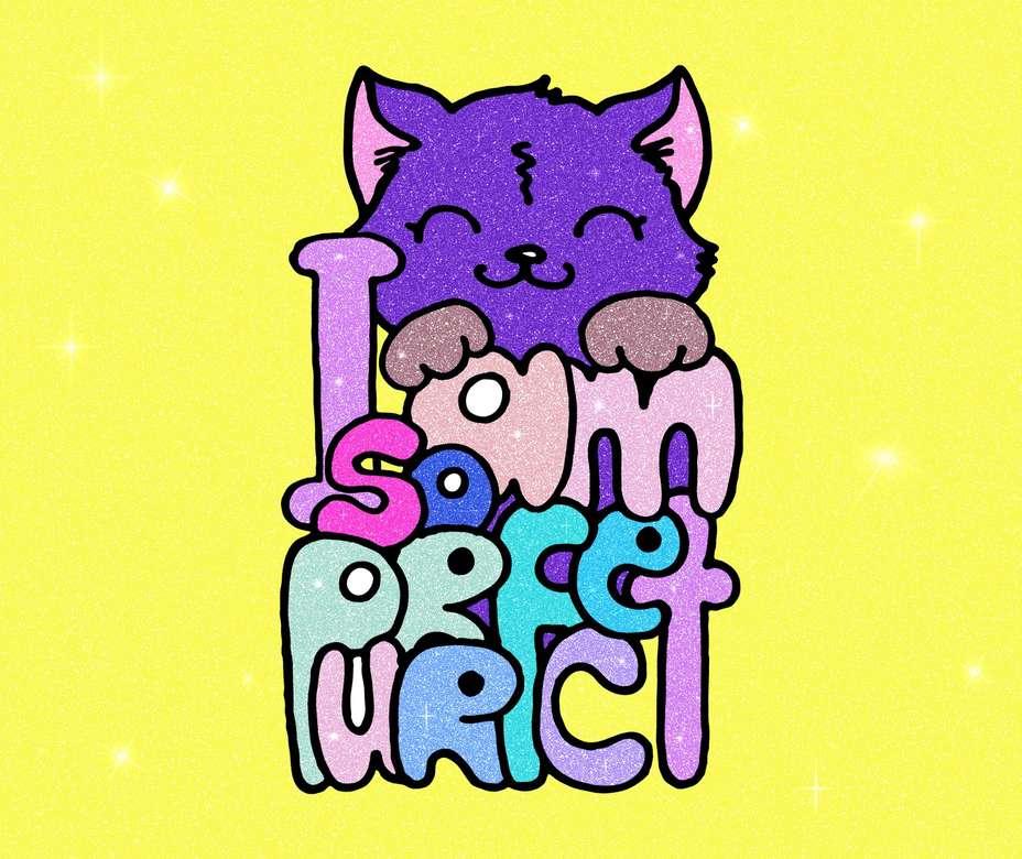 Gato fofo - Gato super fofo com texto (9×8)
