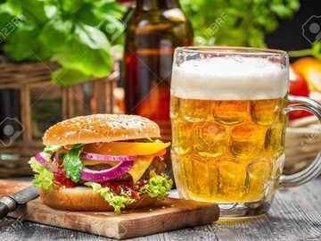 hamburguesa, cerveza - m .....................