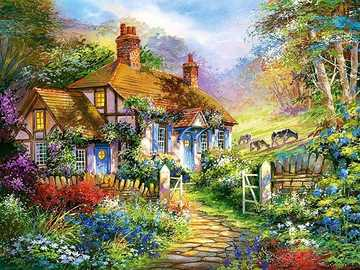 Painted house. - Painted cottage on the edge of the forest.