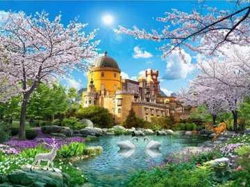 Zamek nad jeziorem - Zamek nad jeziorem wiosną