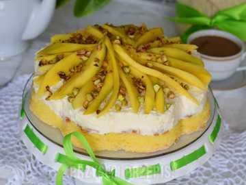 TORCIK APPETICO - Torta cremosa al mango con croccante di pistacchi