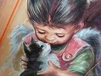 A MENINA COM UM GATO - Foto de uma menina com um gatinho, pintada à mão