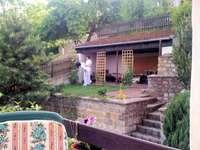 del av trädgården - utsikt från terrassen till trädgården