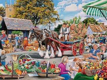 Painting. - English Harvest Festival in Art.