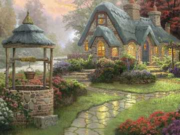 In the English countryside. - Art. Painting. Puzzle.