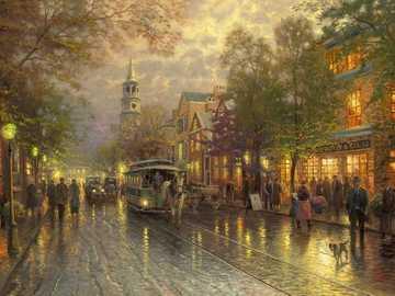 At dusk. - Art. Painting. City.