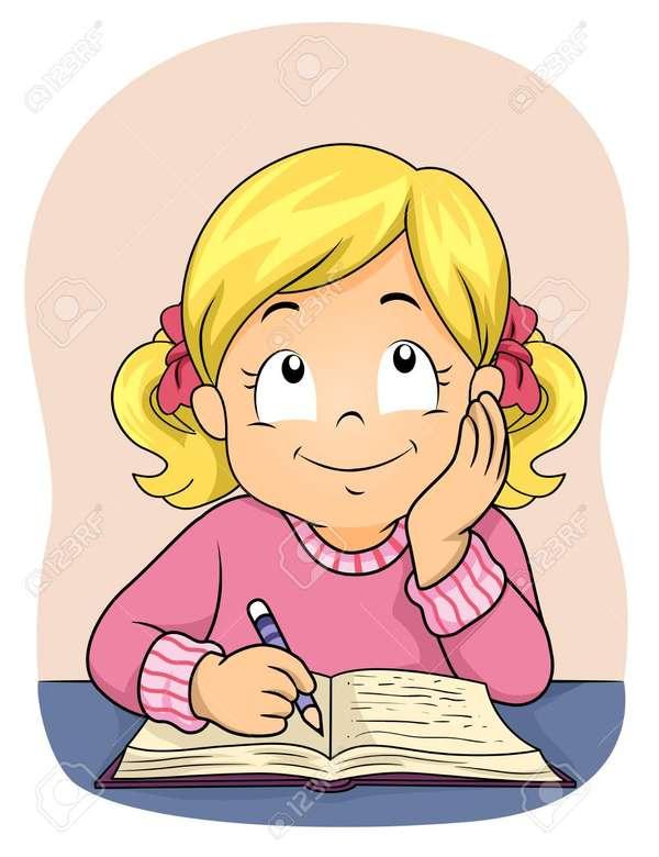 Olvasó lány és a notebook - Természettudományok. Művészi kifejezés. Töltse ki ezt a puzzle-t. Végezze el ezt a tevékenységet. Osztálymunka online tevékenységek során (2×3)