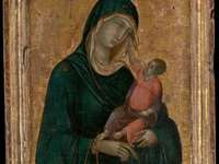 Madonna and the child - Duccio di Buoninsegna - Painting from the first Renaissance period - three hundred.