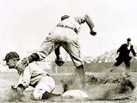 HISTORICAL BASEBALL - OLD PICTURE OF A STOLEN BASE RAISING SAND