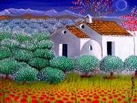 Maison à la campagne - Diego Ceano, peintre de Malaga, Espagne