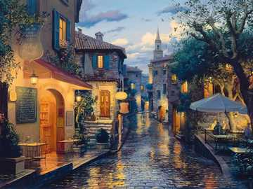 A magical evening. - A magical evening in the town.