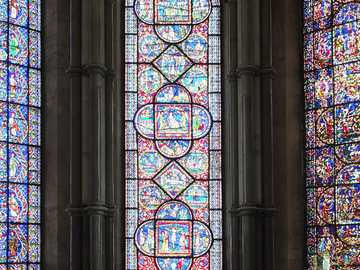 Canterbury Cathedral inside with stained glass windows - Canterbury Cathedral inside with stained glass windows