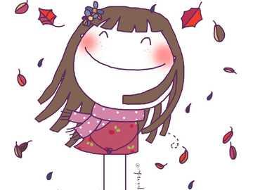 Gelukkig meisje in de herfst - Herfstbladeren vallen op het meisje