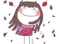 Glückliches Mädchen im Herbst - Herbstlaub fällt auf das Mädchen