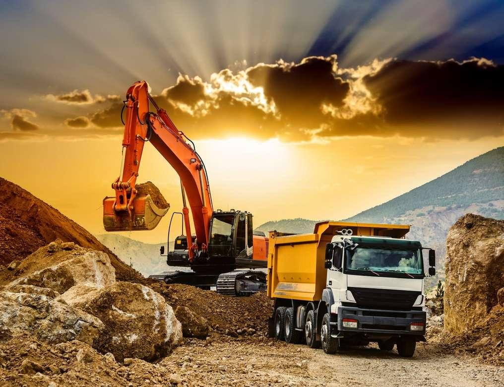 excavator, camion