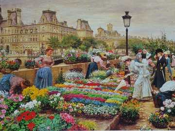 At the flower market. - Jigsaw puzzle. Painting.