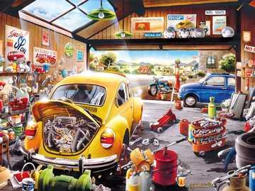 Auto reparatie winkel - knutselen met auto's werkplaats