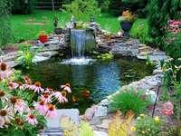 ogród, oczko wodne z kaskadą, kwiaty