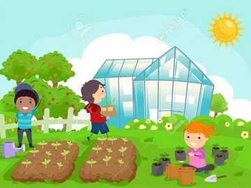hem orchand - Observera hemträdgården och de människor som organiserar och tar hand om den.