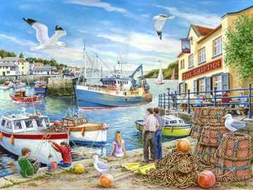 Painting. - Painting. In a fishing port.